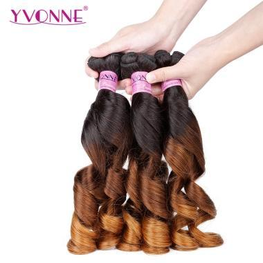 YVONNE New Arrival Funmi Hair T1B/8/14 Ombre Hair Bundles,Spring Curly 100% Human Hair
