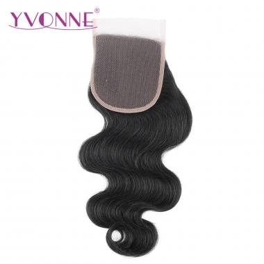 100% Body Wave Brazilian Virgin Hair Lace Top Closure 1B Color