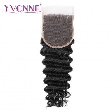 100% Virgin Deep Wave Brazilian Human Hair  Lace Top Closure 1B Color