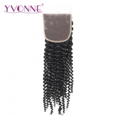 100% Kinky Curl Brazilian Virgin Human Hair Lace Top Closure 1B Color
