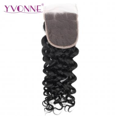 YVONNE 100% Italian Curl Virgin Brazilian Human Hair Lace Top Closure 1B Color