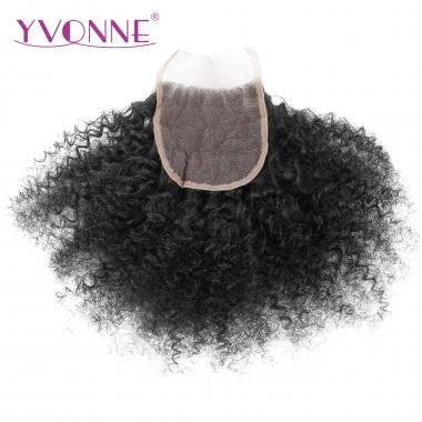 YVONNE Afro Kinky Curl Brazilian Virgin Human Hair 4X4 Lace Closure 1B Color