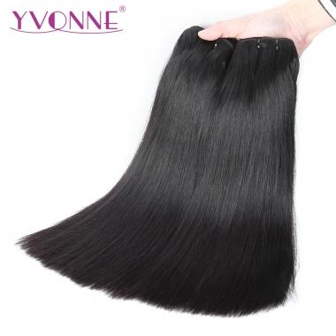 YVONNE HAIR 1 Bundle Double Drawn Silky Straight 100% Virgin Full Cuticle Aligned Hair Weft Natural Color