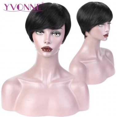 2018 Hot Fashion Short Pixie Wigs 01 / 02 Machine Made Human Hair Wigs Natural Color and Color 4