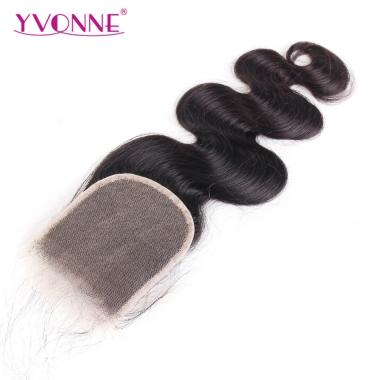 YVONNE Transparent Lace Closure Size 4x4 Brazilian Body Wave Human Hair Free Part Bleached Knots With Baby Hair