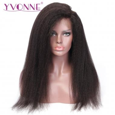 YVONNE 360 Lace Frontal Wigs Kinky Straight For Black Women Pre Plucked Lace Wig 100% Human Remy Hair Products
