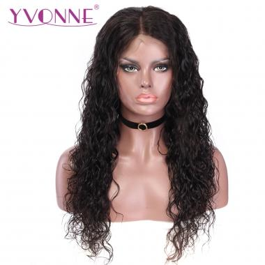 YVONNE Water Wave 180% Density Lace Front Human Hair Wigs For Black Women Natural Color With Baby Hair Around 16-24inch In Stock