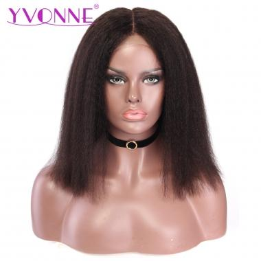 YVONNE Kinky Straight Lace Front Wigs 180% Density Brazilian BoB Wigs With Baby Hair Natural Color