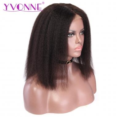 YVONNE 360 Lace Frontal Kinky Straight Bob Lace Wigs Pre Plucked Hairline With Baby Hair 100% Human Hair Products