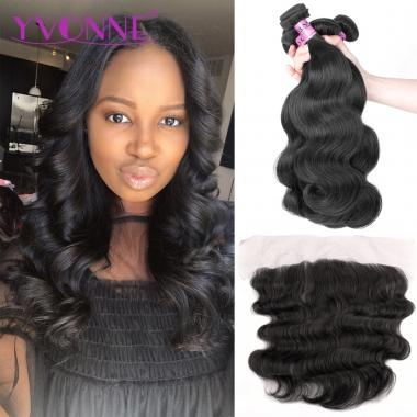 7A Body Wave Brazilian Lace Frontal Closure With Bundles,1Pcs Lace Frontal 13.5x4 With 3Pcs Human Hair Free Shipping