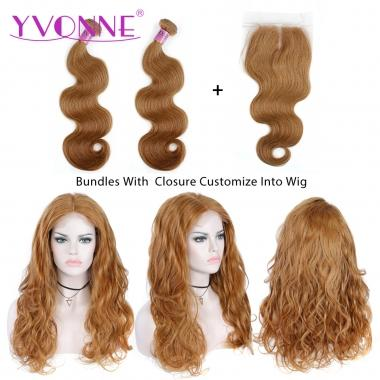 Free Shipping 2 Bundles or 3 Bundles with Closure Body wavy Hair Weave Color #8 ,100% Human Hair Products