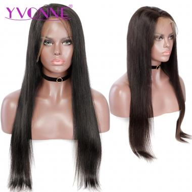 YVONNE 180% Density Straight Human Hair Full Lace Wigs Brazilian Virgin Hair Natural Color