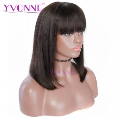 YVONNE 360 Lace Frontal BOB Wigs Brazilian Straight Hair With Fringe Natural Color Pre Plucked Hairline with Baby Hair