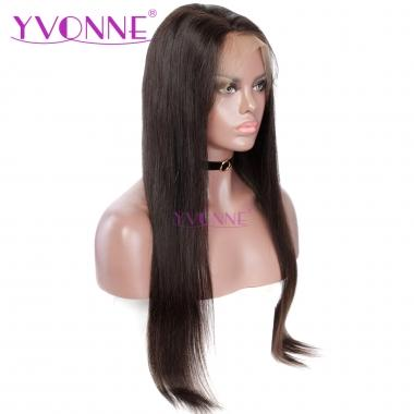 YVONNE 180% Density Straight Human Hair Lace Front Wigs Brazilian Virgin Hair Natural Color