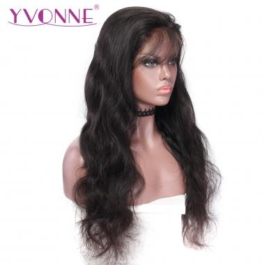 YVONNE Lace Wigs 180% Density Brazilian Virgin Hair Body Wave Lace Front Human Hair Wigs Natural Color