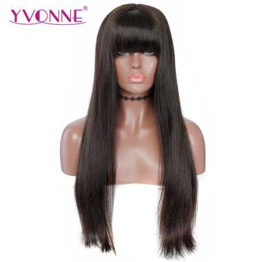 180% Density YVONNE Human Hair Lace Front Wigs Straight With Bangs Brazilian Human Hair Natural Color