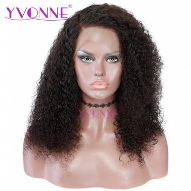 YVONNE Malaysian Curly 180% Density Human Hair 360 Lace Frontal Wigs Pre Plucked with Baby Hair Lace Wigs