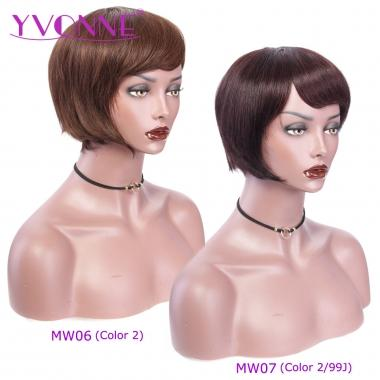YVONNE Machine Made Wigs 06 / 07 Short Bob Pixie Wigs 100% Human Hair Wigs HOT SALE