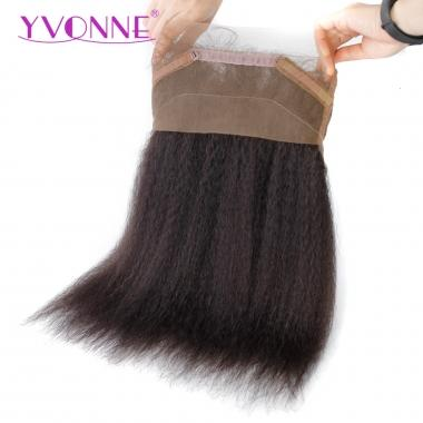 YVONNE 360 Full Lace Frontal Closure,Kinky Straight Virgin Brazilian Lace Frontal Closure,Lace Size 22.5x4