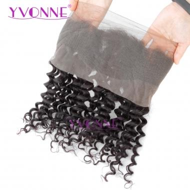 YVONNE 360 Lace Frontal Closure 22.5x4 Virgin Brazilian Deep Wave Frontal 100% Human Hair Natural Color