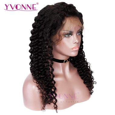 YVONNE Brazilian Virgin Deep Wave Wigs With Baby Hair Lace Front Human Hair Wigs For Women Natural Color