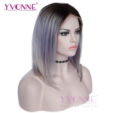YVONNE BOB WIGS Straight Ombre 1B/Gray 100% Human Hair Lace Front Wigs