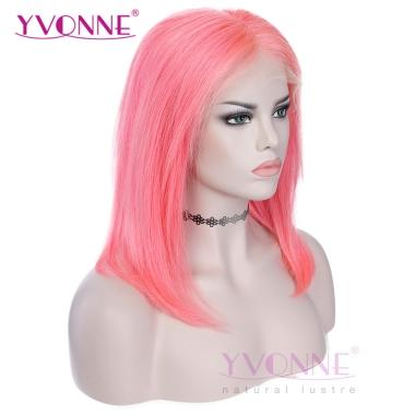YVONNE Fashion Pink Straight Bob Wig 100% Human Hair Lace Front Wigs