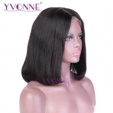 YVONNE Short Full Lace Human Hair Wigs Brazilian Straight Bob Wigs For Black Women With Baby Hair 10-14inch