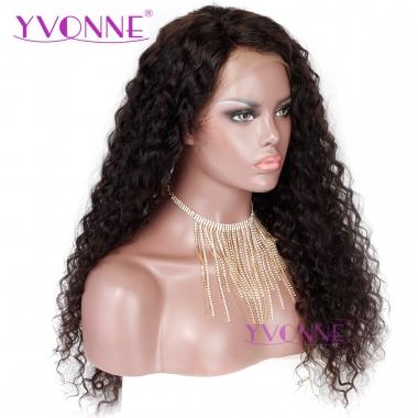 YVONNE 180% Density Italian Curly Human Hair Lace Front Wigs For Black Women Natural Color With Baby Hair Around 16-24inch In Stock