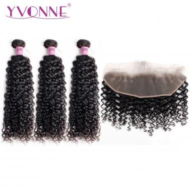 YVONNE Malaysian Curly Hair 1PCS 13.5*4 Lace Frontal Closure With 3PCS Bundles Real Human Hair Free Shipping