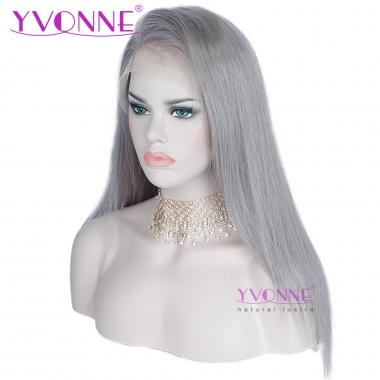 YVONNE Straight Human Hair Lace Front Wigs Fashion Color Grey