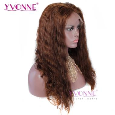 YVONNE Lace Front Human Hair Wigs Color 4  Water Wavy Brazilian Hair Pre Plucked With Baby Hair