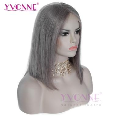 YVONNE Color Gray Straight Bob Wigs Real Human Hair Lace Front Wigs