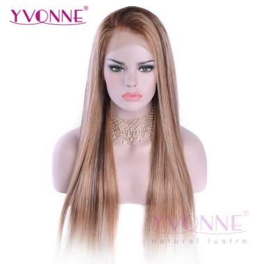 YVONNE Straight Wig  Lace Front Human Hair Wigs Ombre Color T4-4/27