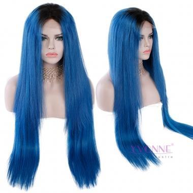 YVONNE Long Straight 250% Density Human Hair Lace Front Wigs Fashion Color 1B/Blue 28inches