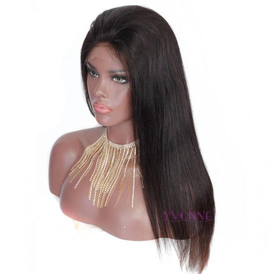 YVONNE 250% Density Straight Lace Front Human Hair Wigs Natural Color With Baby Hair