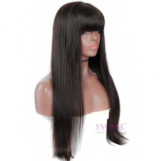 YVONNE Human Hair Lace Front Wigs Straight With Bangs Brazilian Human Hair Natural Color