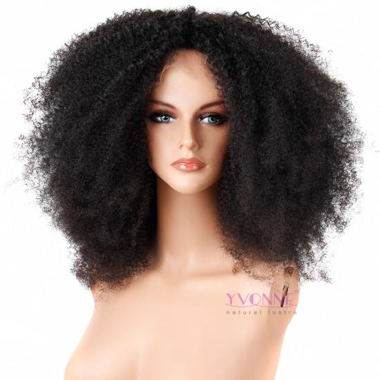 250% Density YVONNE Afro Curl Lace Front Human Hair Wigs For Black Women Pre Plucked Brazilian Human Hair Bleached Knots