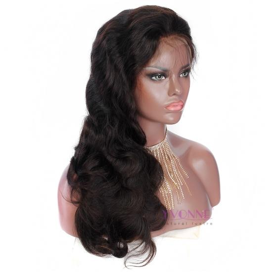 YVONNE Full Lace Wigs 250% Density Body Wave 100% Human Hair Wigs Natural Color With Baby Hair