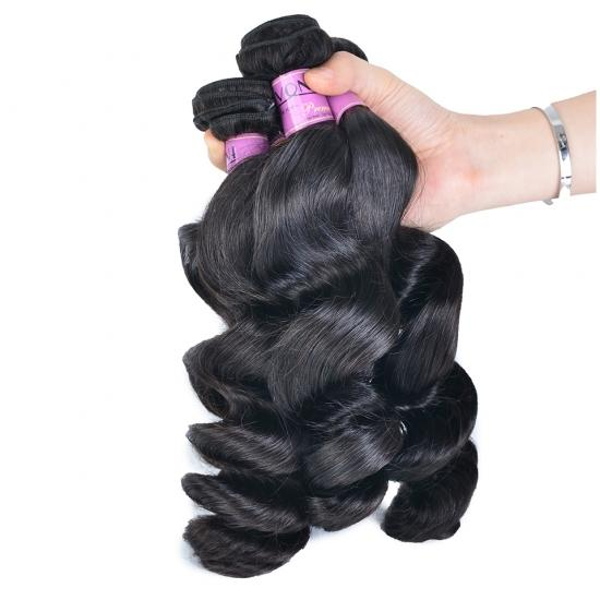 FREE SHIPPING Diamond Quality Brazilian Hair Weave Loose Wave 3/4 Bundles/Lot Natural Color