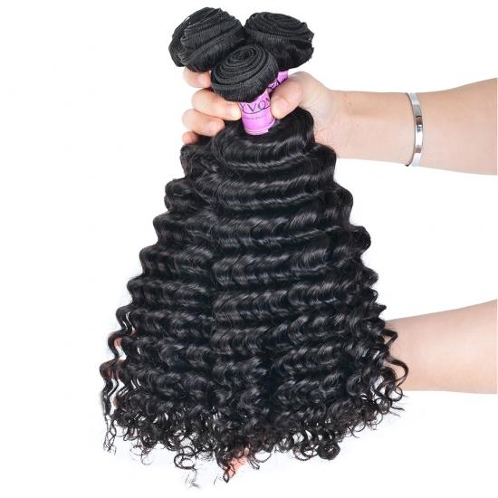 Diamond Quality Brazilian Hair Weave Deep Wave 3 Bundles Natural Color