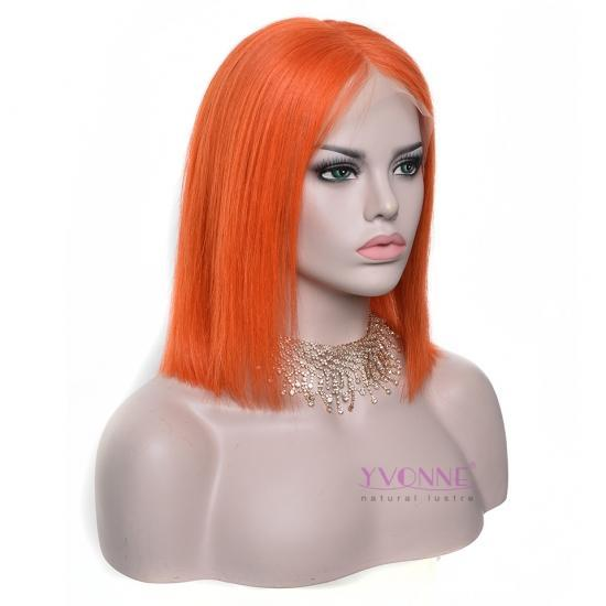 YVONNE Fashion Orange Straight Bob Wig 100% Human Hair Lace Front Wigs