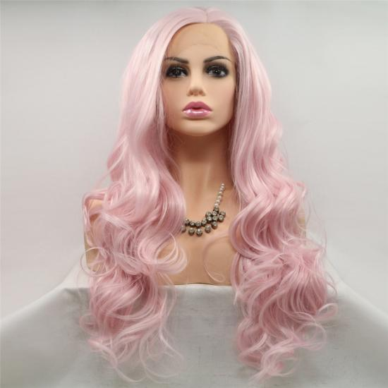 Yvonne Pink Synthetic Lace Front Wig for Women Glueless Long Wavy Resistant Hair Wigs For Women