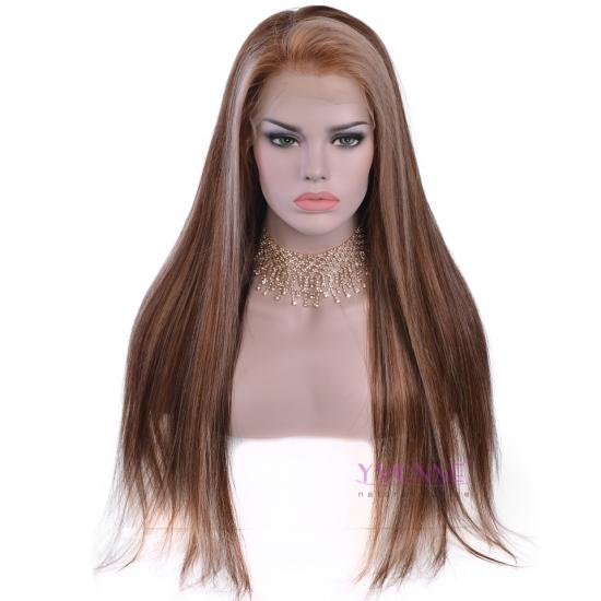 YVONNE Ombre 4/27 Natural Straight Human Hair Lace Front Wig