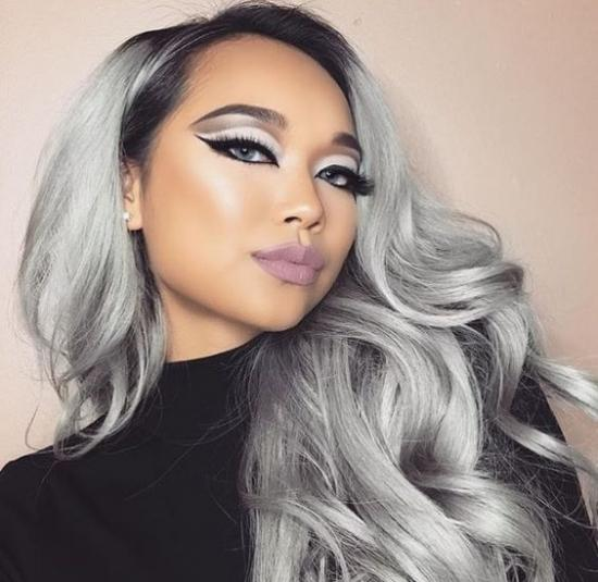 Yvonne Ombre Grey Synthetic Lace Front Wig Body Wave Silver Gray Glueless Long Natural Dark Root Heat Resistant Hair Wigs For Women
