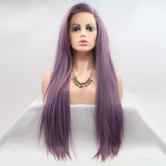 Yvonne Purple Synthetic Lace Front Wig Long Straight Heat Resistant Hair Wigs For Women