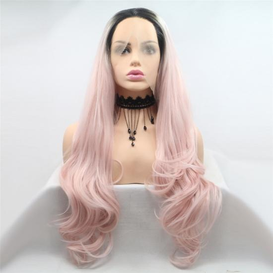 Yvonne Ombre Pink Synthetic Lace Front Wig Body Wave Long Heat Resistant Hair Wigs For Women