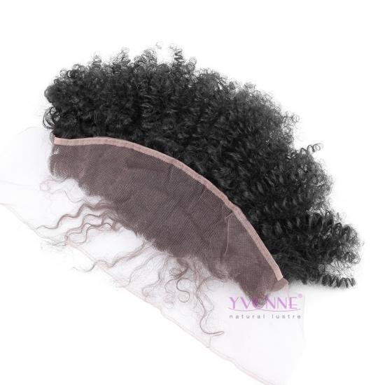 YVONNE Afro Kinky Curly Lace Frontal Closure 13.5*4,Real Human Hair Free Part Brazilian Virgin Hair Lace Frontal