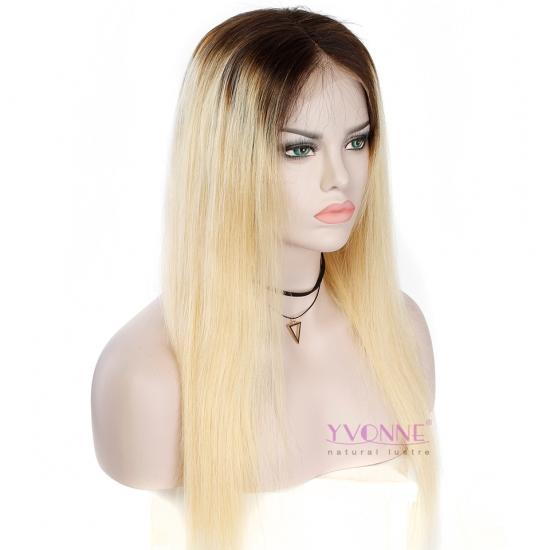 Yvonne Lace Front Human Hair Straight Wigs Ombre T1B/613 Color Wigs