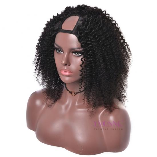 YVONNE Kinky Curly U Part Wigs Human Hair For Black Women Brazilian Virgin Hair Natural Color